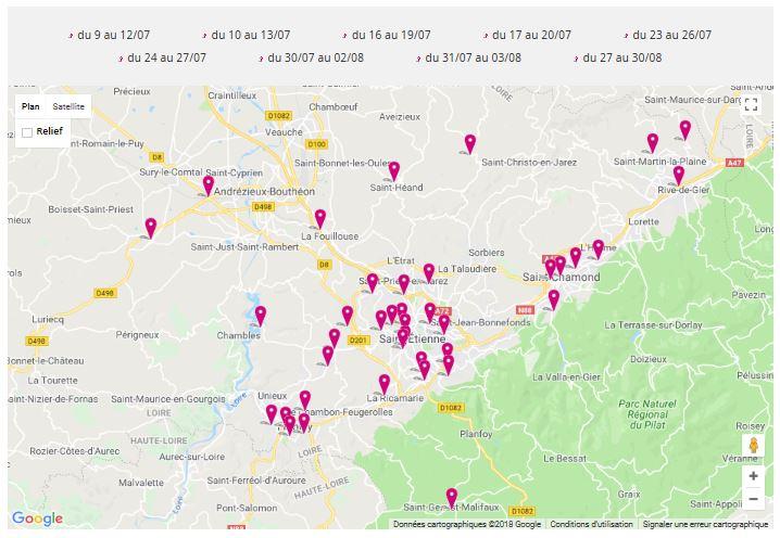 Carte gélocalisée des stages multi-activités Été jeunes 2018
